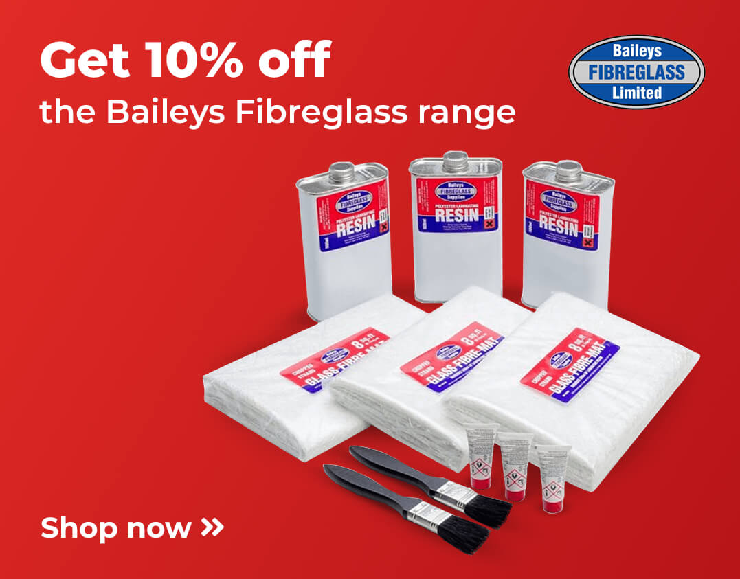 10% off Baileys Fiberglass repair products