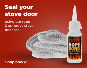 Shop stove door seal and adhesive