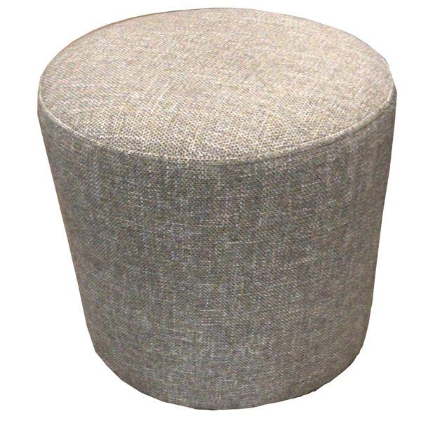 Round Upholstered Pouf Piero Dijon with Black Plastic Feet
