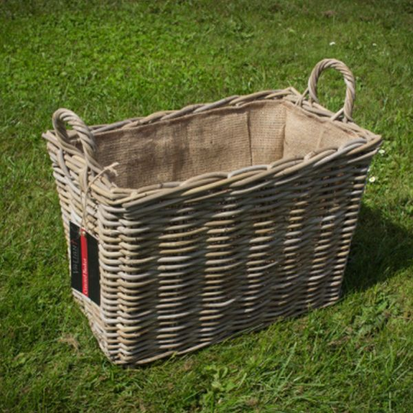 Valiant Cottered Lined Rectangular Rattan Basket