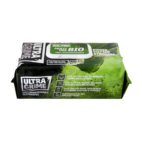 Ultra Grime Pro Bio Cloth Wipes 100 Pack